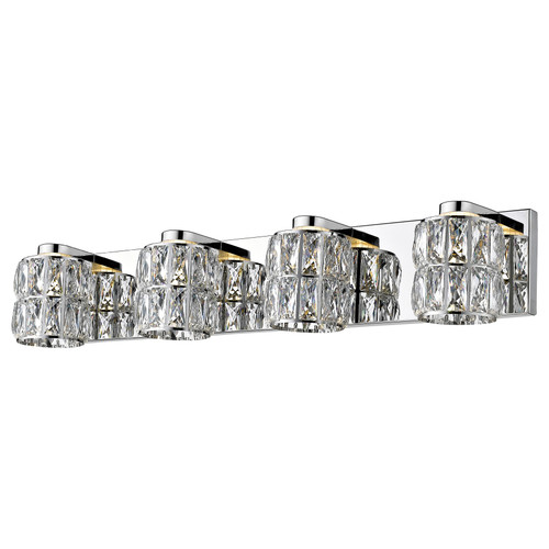 Access Lighting Ice Collection 4-Light Crystal Vanity in Mirrored Stainless Steel Finish