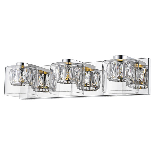 Access Lighting Private Collection Collection 3-Light Crystal with Clear Glass Vanity in Mirrored Stainless Steel Finish
