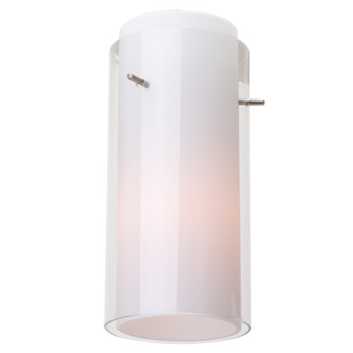 Access Lighting Glass`n Glass Cylinder Shade in Brushed Steel with Clear Opal Glass, 23133-BS/CLOP