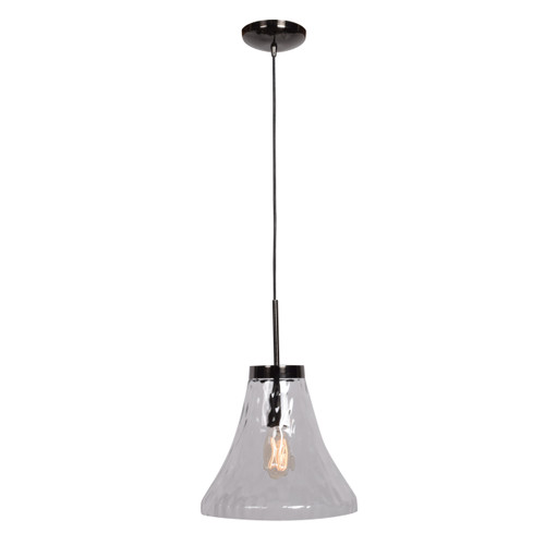 Access Lighting Simplicite Collection 1-Light Bell Glass Pendant in Black Chrome Finish