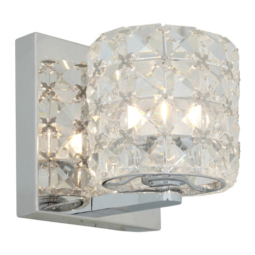Access Lighting Prizm 1 Light Wall Sconce & Vanity in Chrome with Clear Crystal Glass, 23920-CH/CCL