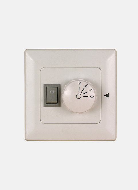 Fanimation Three Speed Wall Control Non-Reversing - Fan Speed and Light - White - 220v