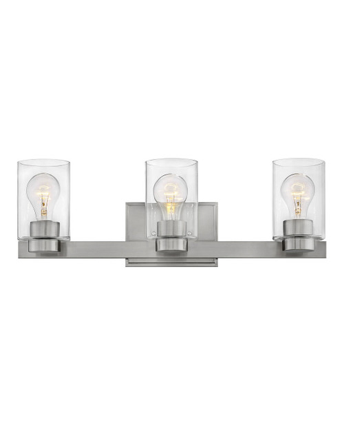 Hinkley Bath Miley Collection Three Light Vanity in Brushed Nickel with Clear glass, 5053BN-CL