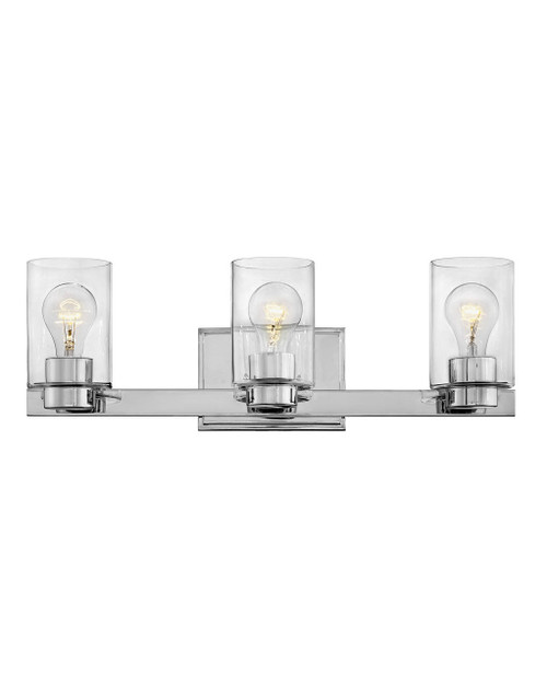 Hinkley Bath Miley Collection Three Light Vanity in Chrome with Clear glass, 5053CM-CL