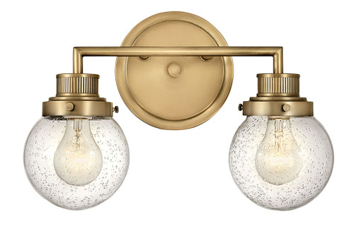 Hinkley Bath Poppy Collection Two Light Vanity in Heritage Brass, 5932HB