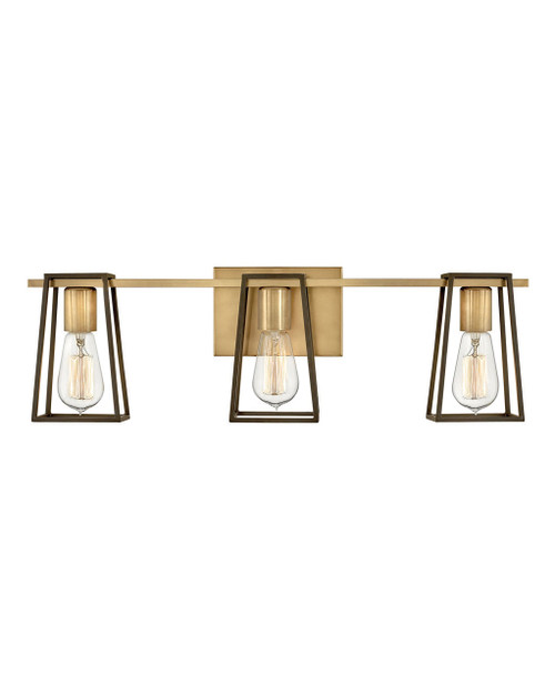 Hinkley Bath Filmore Collection Three Light Vanity in Heritage Brass, 5163HB