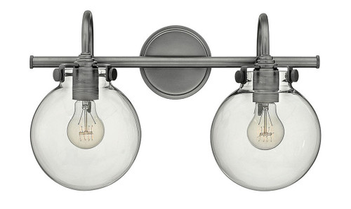 Hinkley Bath Congress Collection Globe Glass Two Light Vanity in Antique Nickel, 50024AN