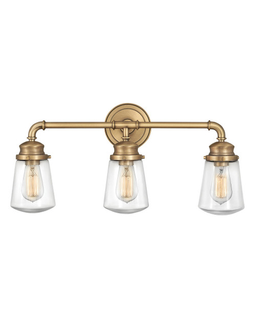 Hinkley Bath Fritz Collection Three Light Vanity in Heritage Brass, 5033HB