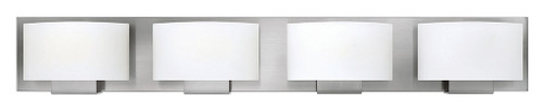 Hinkley Bath Mila Collection Four Light Vanity in Brushed Nickel, 53554BN-LED