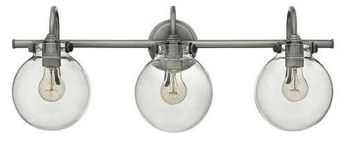 Hinkley Bath Congress Collection Globe Glass Three Light Vanity in Antique Nickel, 50034AN