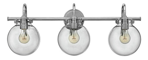 Hinkley Bath Congress Collection Globe Glass Three Light Vanity in Chrome, 50034CM