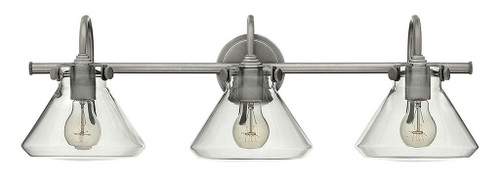 Hinkley Bath Congress Collection Small Retro Glass Three Light Vanity in Antique Nickel, 50036AN