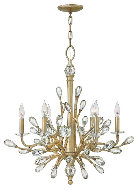 Hinkley Chandelier Eve Collection Medium Single Tier in Champagne Gold, FR46806CPG