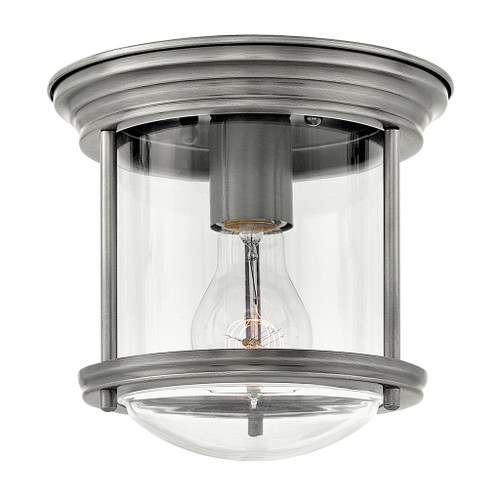 Hinkley Foyer Hadley Collection Small Flush Mount in Antique Nickel with Clear glass, 3300AN-CL