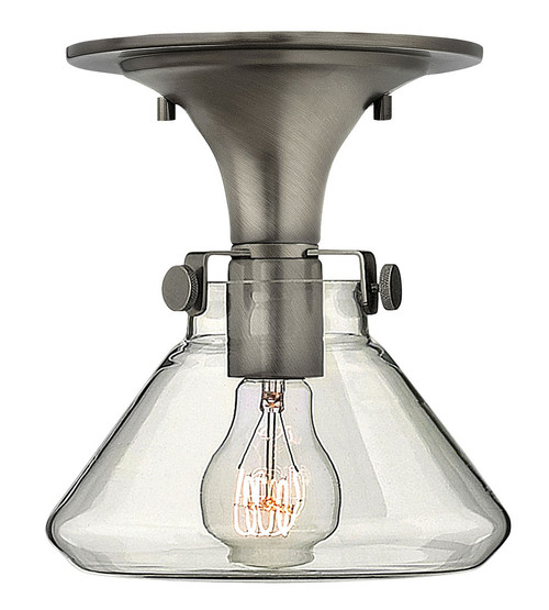 Hinkley Foyer Congress Collection Small Retro Glass Flush Mount in Antique Nickel, 3146AN