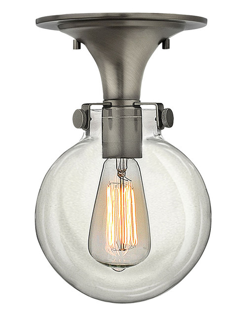 Hinkley Foyer Congress Collection Globe Glass Flush Mount in Antique Nickel, 3149AN