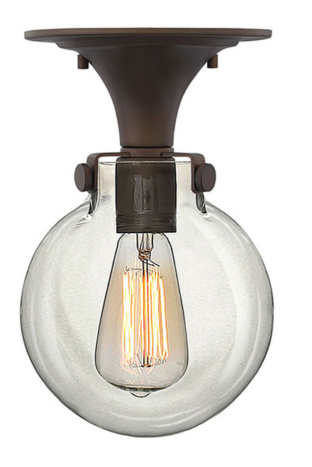 Hinkley Foyer Congress Collection Globe Glass Flush Mount in Oil Rubbed Bronze, 3149OZ