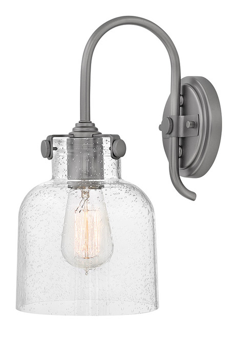 Hinkley Sconce Congress Collection Cylinder Glass Single Light Sconce in Antique Nickel, 31700AN
