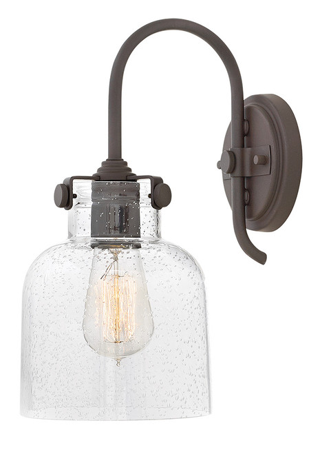 Hinkley Sconce Congress Collection Cylinder Glass Single Light Sconce in Oil Rubbed Bronze, 31700OZ