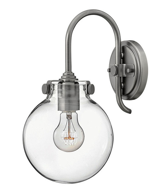 Hinkley Sconce Congress Collection Globe Glass Single Light Sconce in Antique Nickel, 3174AN