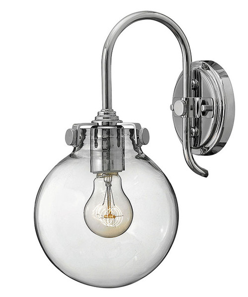 Hinkley Sconce Congress Collection Globe Glass Single Light Sconce in Chrome, 3174CM