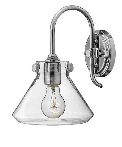 Hinkley Sconce Congress Collection Small Retro Glass Single Light Sconce in Chrome, 3176CM