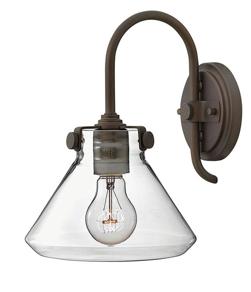 Hinkley Sconce Congress Collection Small Retro Glass Single Light Sconce in Oil Rubbed Bronze, 3176OZ