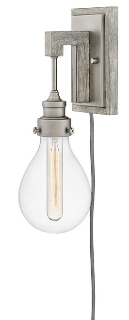 Hinkley Sconce Denton Collection Single Light Plug-in Sconce in Pewter, 3262PW