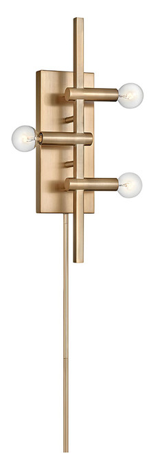 Hinkley Sconce Kinzie Collection Three Light Plug-in Sconce in Modern Brass, 4122MDB
