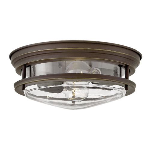 Hinkley Foyer Hadley Collection Medium Flush Mount in Oil Rubbed Bronze with Clear glass, 3302OZ-CL