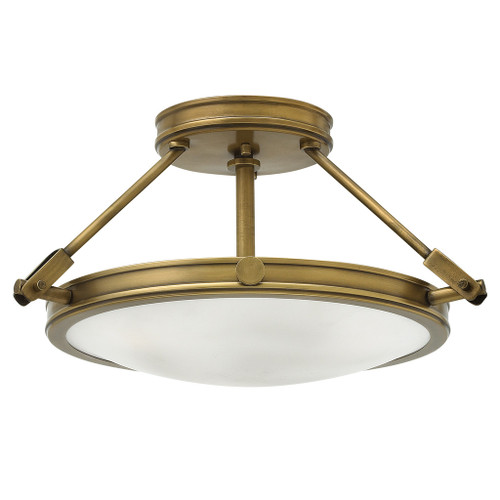 Hinkley Foyer Collier Collection Small LED Semi-Flush Mount in Heritage Brass, 3381HB-LED