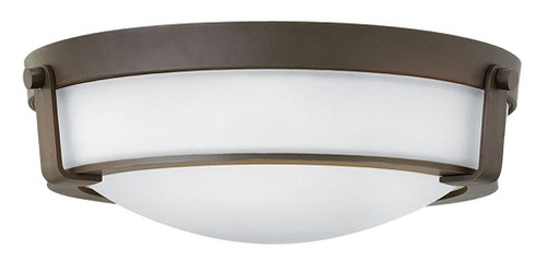 Hinkley Foyer Hathaway Collection Medium Flush Mount in Olde Bronze with Etched White glass, 3225OB-WH