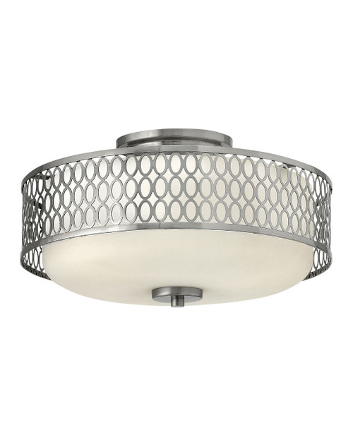 Hinkley Foyer Jules Collection Medium Semi-Flush Mount in Brushed Nickel, 53241BN