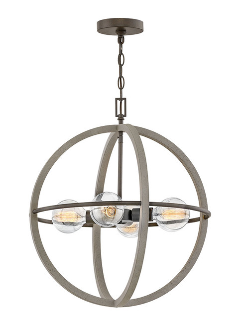 Hinkley Chandelier Bodie Collection Small Orb in Dark Cement, 3424DC