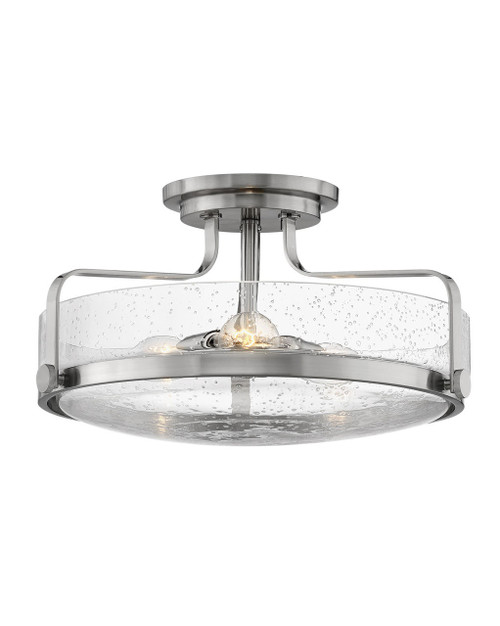 Hinkley Foyer Harper Collection Large Semi-Flush Mount in Brushed Nickel with Clear Seedy glass, 3643BN-CS