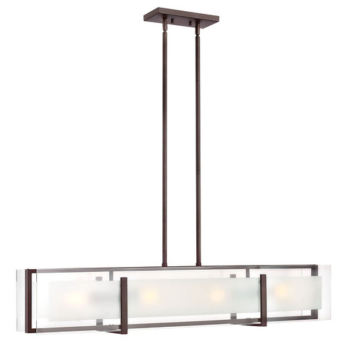 Hinkley Chandelier Latitude Collection Four Light Linear in Oil Rubbed Bronze, 3996OZ