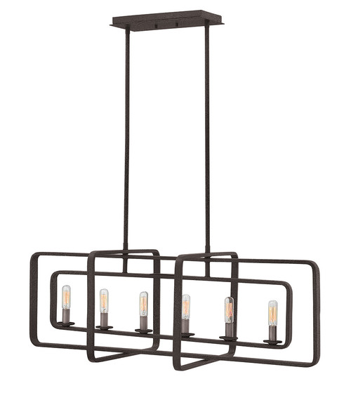 Hinkley Chandelier Quentin Collection Six Light Linear in Aged Zinc, 4815DZ