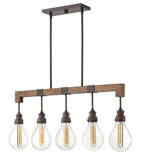 Hinkley Chandelier Denton Collection Five Light Linear in Industrial Iron, 3266IN