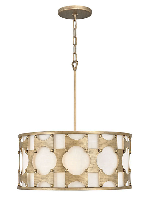 Hinkley Chandelier Carter Collection Medium Drum in Burnished Gold, 4735BNG