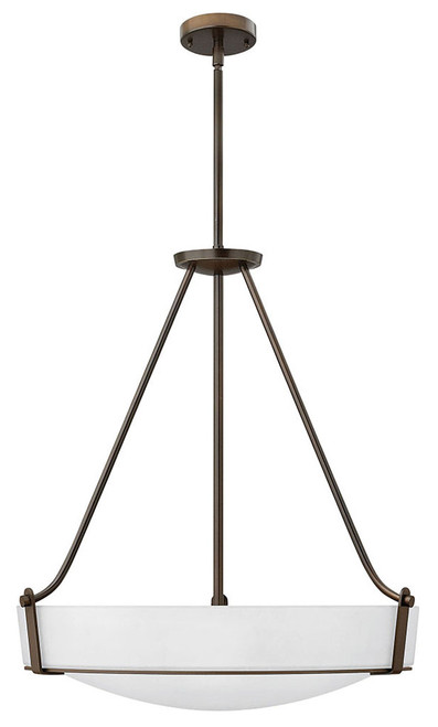 Hinkley Foyer Hathaway Collection Large Pendant in Olde Bronze with Etched White glass, 3224OB-WH