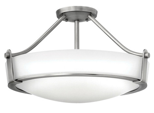 Hinkley Foyer Hathaway Collection Large Semi-Flush Mount in Antique Nickel, 3221AN-LED