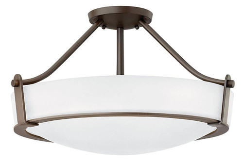 Hinkley Foyer Hathaway Collection Large Semi-Flush Mount in Olde Bronze with Etched White glass, 3221OB-WH-LED