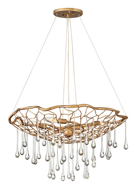Hinkley Chandelier Laguna Collection Medium Single Tier in Burnished Gold, 45304BNG