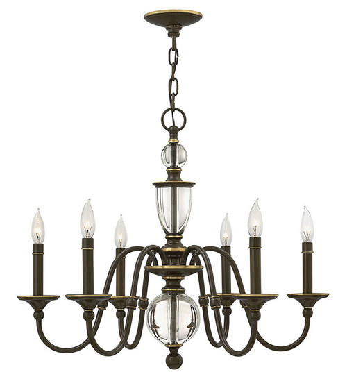 Hinkley Chandelier Eleanor Collection Small Single Tier in Light Oiled Bronze, 4956LZ