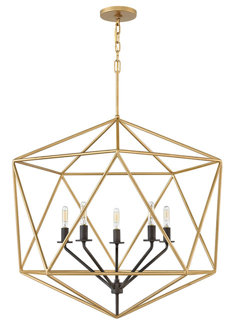 Hinkley Chandelier Astrid Collection Large Open Frame in Deluxe Gold, 3025DG