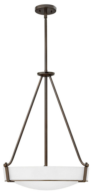 Hinkley Foyer Hathaway Collection Medium Pendant in Olde Bronze with Etched White glass, 3222OB-WH-LED