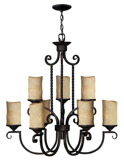 Hinkley Chandelier Casa Collection Large Two Tier in Olde Black, 4018OL