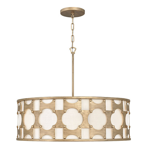 Hinkley Chandelier Carter Collection Large Drum in Burnished Gold, 4736BNG