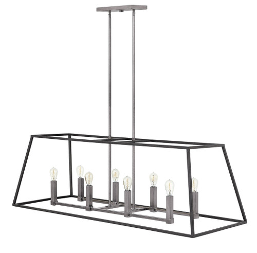 Hinkley Foyer Fulton Collection Eight Light Open Frame Linear in Aged Zinc, 3338DZ