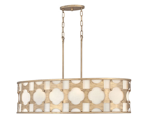 Hinkley Chandelier Carter Collection Six Light Linear in Burnished Gold, 4738BNG